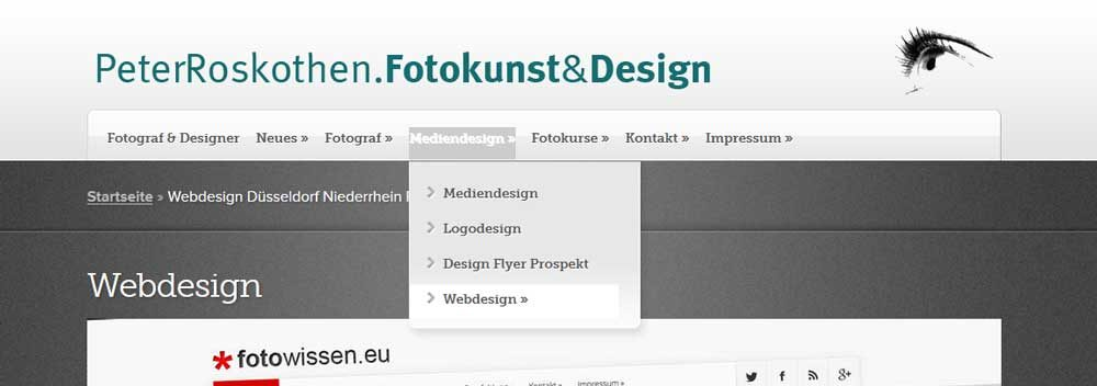 Webseiten Menüführung Webdesign