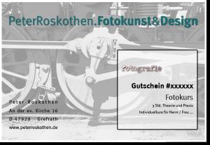"""Gutschein Fotoschulung - Motiv """"Technik"""" Fotografie lernen"""