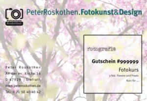 Geschenkgutschein Fotokurs Naturmotiv, Fotoschule Roskothen
