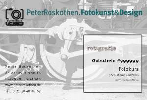 Geschenkgutschein Fotokurs Technikmotiv, Fotoschule Roskothen, Geschenk Fotoschulung Fotokurs