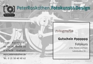 Geschenkgutschein Fotokurs Technikmotiv, Fotoschule Roskothen