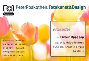 Geschenkgutschein Fotokurs Naturfotografie Makrofotografie Fotoschule Roskothen